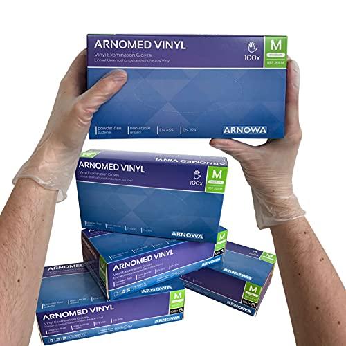 ARNOMED Vinyl Einweghandschuhe M, puderfrei, 100 Stück/Box, Einmalhandschuhe, Vinyl Handschuhe, in Gr. S, M, L & XL verfügbar