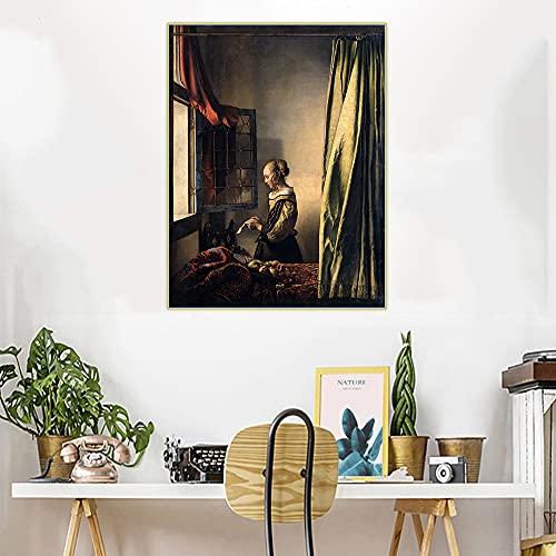 CYTTOU Citon Johannes Vermeer ? Tjej läser ett brev med ett öppet fönster ? Canvas oljemålning Konst Bildmålning Inredning Heminredning 16x24 Inch Ingen ram