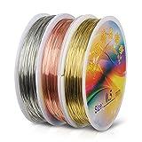 Hyber&Cara Filo di Rame 0,5 mm, Filo Metallico Artigianale in Argento/Oro/Oro Rosa per Gioielli Perline, 60 metri in 3 rotoli