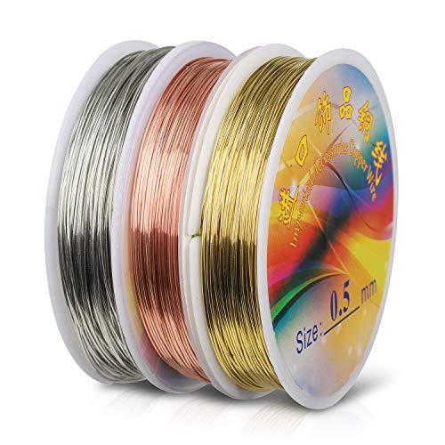 Hyber&Cara Schmuckdraht, 60m x 0,5 mm Basteldraht, Silber/Gold/Roségold Kupferdraht für Basteln und Schmuckherstellung
