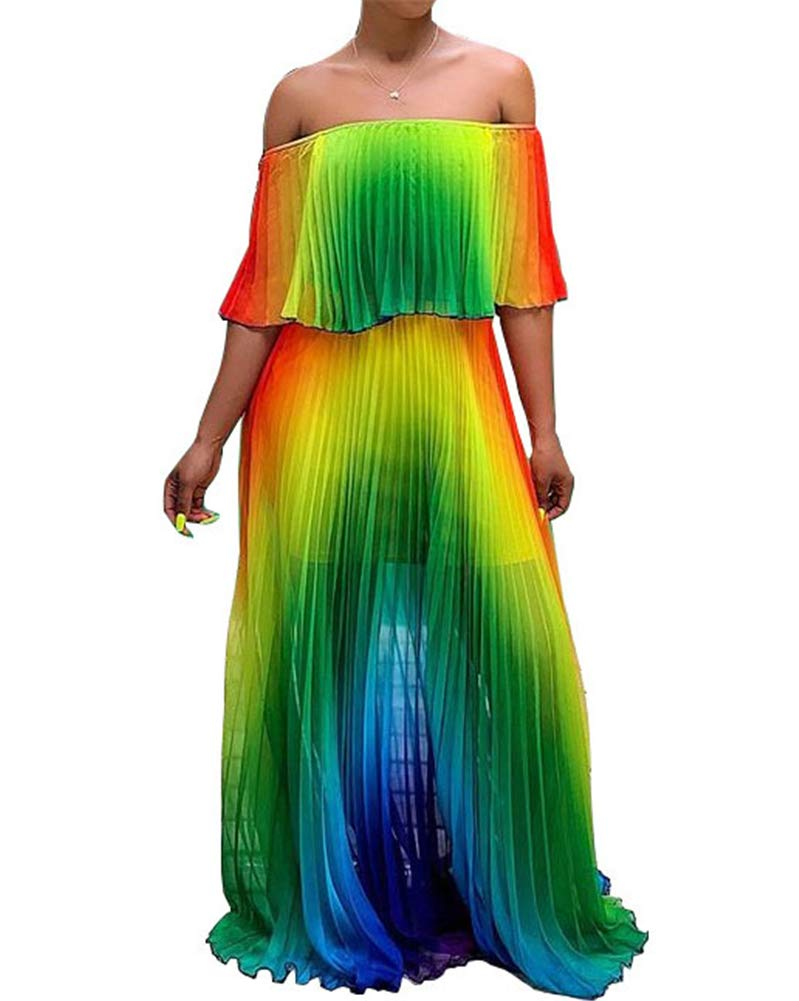 Available at Amazon: Rela Bota Women's Sundresses Beach Off Shoulder - Sexy Tie Dye Color Block Chiffon Ruffle Pleated Summer Long Maxi Dresses