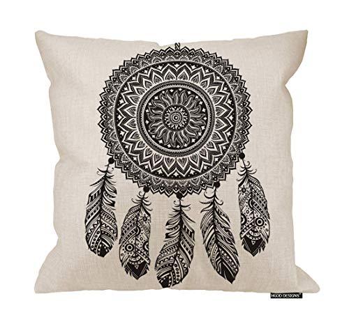 Funda de cojín de lino y algodón, diseño de atrapasueños, diseño de atrapasueños, diseño de atrapasueños, 45,7 x 45,7 cm