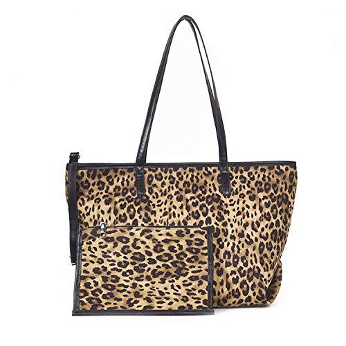 NOTAG Damen Shopper, Grosse Kapazität Handtasche PU Leder Leopardenmuster Schultertasche mit Kupplung (Khaki)