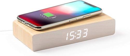 Nature Reloj Despertador Cargador inhalambrico Despertador,función Fecha y Hora, Alarma y termómetro. 3 Posiciones de iluminación, con Cable Micro USB Incluido, Reloj Despertador Cargador