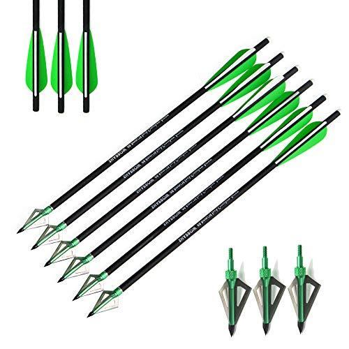 AMEYXGS 12 Piezas Pernos de Ballesta Flechas de Ballesta de Carbono 16' 17' 18' 20' 22' para La Práctica de Caza y Tiro con Arco de Ballesta (Verde, 16')