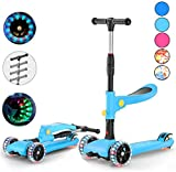 Airgymfactory 2-in-1 3 Wheel Scooter for Kids with Removable Seat Toddlers Kick Scooter for Kids for Kids,4 Adjustable Height, Lean to Steer with PU LED Light Up Wheels for Children
