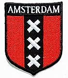 PP-Flicken mit Amsterdam-Flagge, Nationalemblem, zum Aufbügeln oder Aufnähen, Uniform, Jeans, Kleidung, Hut, Tasche, Kleid, Mütze, Polo, Rucksack, perfekt als Geschenk