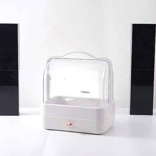 DFRgj Kosmetische Aufbewahrungsboxen Reise-Make-up-Kasten-Organisator-Schmuck und kosmetische Lagerung mit staubdichtem Deckel, Schauk en mit F ern, Gestell-Frisierkommode (Farbe   Weiß