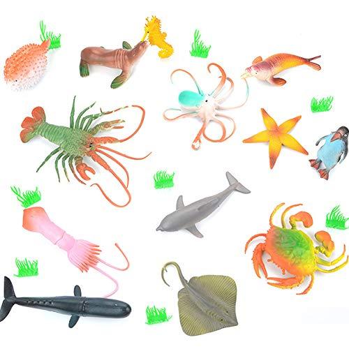 BESTZY 21pcs Grande Animales de Juguete Mini Figuras Marinos Plástico Fauna Submarina Realista para Jugar en el Baño Fiesta Educativa Mar(10cm-20cm)