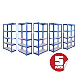 Garage Shelving Units: 150cm x 75cm x 30cm | Heavy Duty Racking Shelves for <span class='highlight'>Storage</span> - 5 Bay, Blue 5 Tier (175KG Per Shelf), 875KG Capacity | For Workshop, Shed, Office | 5 Year Warranty