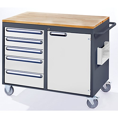 RAU Werkbank, fahrbar – 5 Schubladen, 1 Tür, Holzarbeitsfläche, lichtgrau / enzianblau – Fahrbare Werkbänke Werkbänke, fahrbar Fahrbare Werkbänke Werkbänke, fahrbar - 3