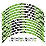 XIAOZHIWEN Un Conjunto de calcomanías de Rueda de Motocicleta de 12 unids Impermeable Pegatinas Reflectantes Rimas de llanta para Todos Kawasaki ER-6N Universal (Color : Green)