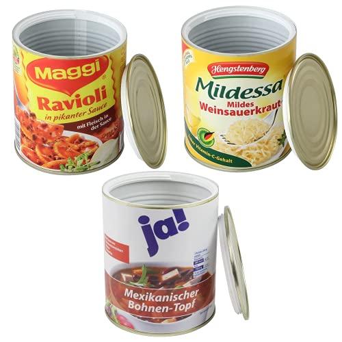 Kogu Mix - Lot de 3 coffres-forts - Au design d'une boîte de conserve des aliments Mildessa et Ravioli - Pour cacher de l'argent