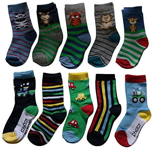 Lieblingsstrumpf24 10er Pack Kinder Socken Jungen Mädchen Baumwolle Öko-Tex Standard 100 (31-34, Trecker-Tier Mix)