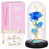 Yodeace Rosa Eterna, Rosa Eterna Flor Azul Artificial En Cúpula de Cristal con Luz LED Tarjeta de...