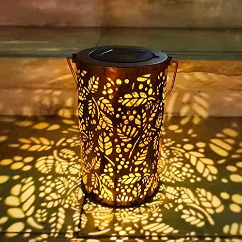 TOGAVE Solarlaterne für außen, LED Solarlampe IP44 Wasserdicht Hängbare Muster Solarleuchten Solar Laterne Solar Gartenleuchte Dekorative für Garten, Terrasse,Hof, Gehweg - Warmweiß