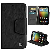 PimpCase Compatible with LG Lucid 3 Case, VS876, Dual Slim Black Synthetic Leather [Flip Wallet Cover] with Magnetic Closure Built in Kickstand