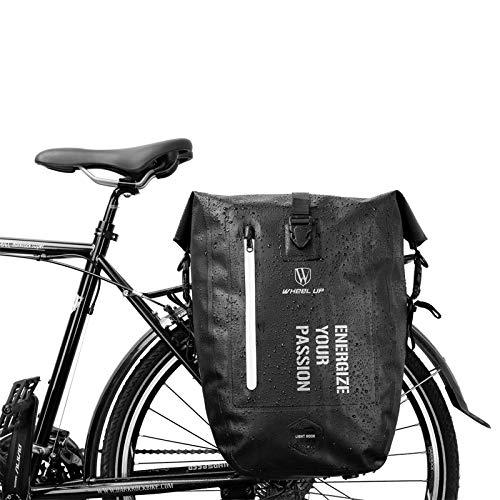 BAIGIO Borsa Posteriore per Bicicletta, 25L MTB Impermeabile Borsa da Bicicletta Antistrappo Sacchetto della Bicicletta Pannier Bag (Nero)