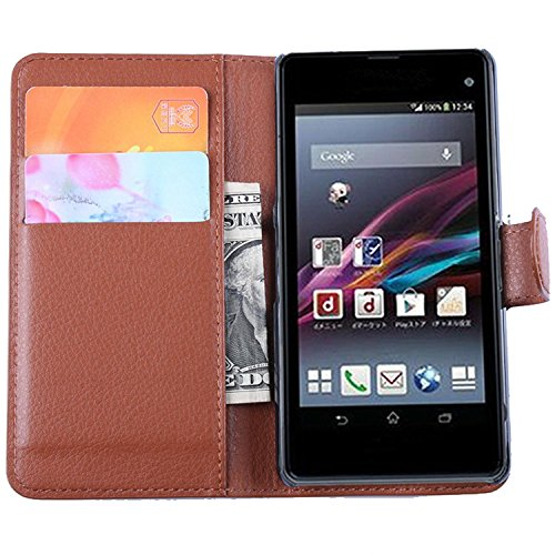 Ycloud Tasche für Sony Xperia Z1 Compact (4.3 Zoll) Hülle, PU Ledertasche Flip Cover Wallet Hülle Handyhülle mit Stand Function Credit Card Slots Bookstyle Purse Design braun