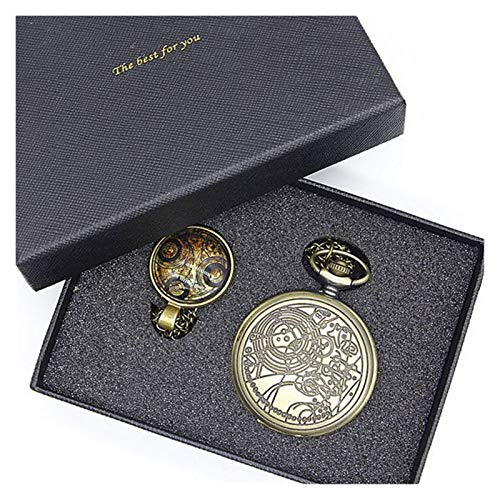 Relojes de bolsillo, reloj de bolsillo vintage con bolsillo de cuarzo pulido para hombre con caja (color 003)