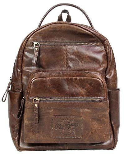 Rawlings Heritage Medium Genuine Leather Backpack Baseball Laptop Sleeve Brown