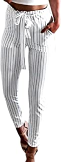 Coolster Women's Casual Striped High Waist Trousers Elastic Waist Casual Pants