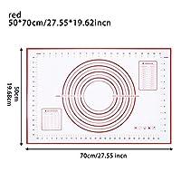 XHYRB ベーキングマット食品グレードシリコーンノンスティックベーキングマットは、パッドフォンダンペストリー生地高温の調理道具、余分なラーグでオーブン ケーキデコレーションデザートモールド (Color : 70x50cm red)