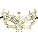 Luxury Masquerade Mask for Women Metal Rhinestone Mardi Gras Halloween Party