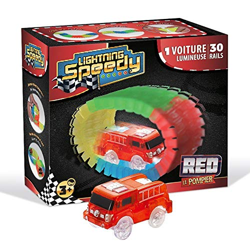LIGHTNING SPEEDY Camion Lumineux Red Le Pompier et 30 Rails luminescents - Vu à la TV