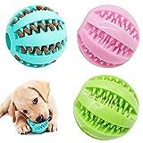 Qixuer 3 Piezas Pelota de Juguete para Perros,Bola de Comida para Perros de Goma Bolas Juguetes Interactivos para Morder Perro Bola de Limpieza de Dientes Juguetes para Perros Mascotas