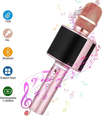 Wireless Bluetooth Karaoke Microphone,4 in 1 Handheld Dynamic Microphone Speaker for Android/iPhone/PC, Selfie Stick, TWS Connectable, Suitable for Kids,Home Party, KTV, Birthday(Rose Gold)