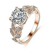 ITVIP Fiore Naturale Cristallo Pietra preziosa Anello da Donna intarsio Super Flash zircone Anello impegno Anello Regalo di Gioielli (8, Oro Rosa)