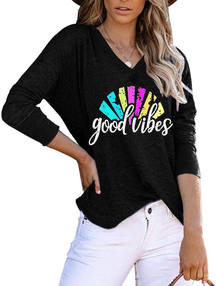 Ausun Womens V Neck Long Sleeve Workout Yoga Shirts Open Back Loose Casual T Shirts Tunic Tops Blouses