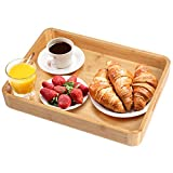 Bandeja de desayuno de bambú con asas para servir platos, ideal para cenas, fiestas, té, bar, desayuno,...