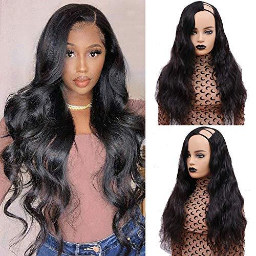 U Part Wig Human Hair Body Wave Wigs for black women Human Hair,Ms Taj Wavy Human Hair Wigs 150 density U Shape Clip in Half Wig Glueless Wigs Full Head