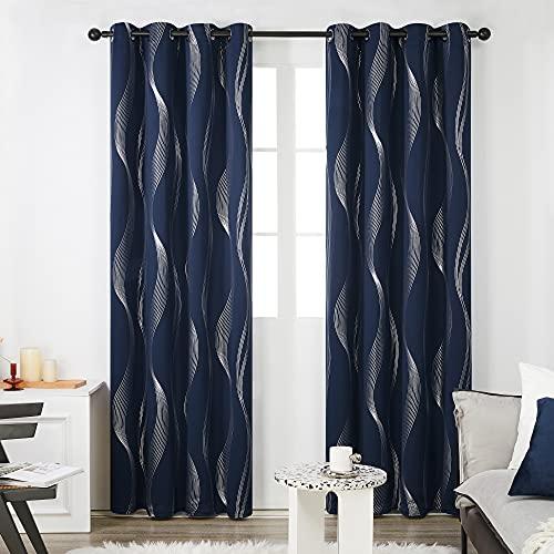 Deconovo Cortinas Opacas Diseño Líneas Onduladas Plateadas para habitación con Ojales 2 Piezas 140 x 175 cm Azul Marino