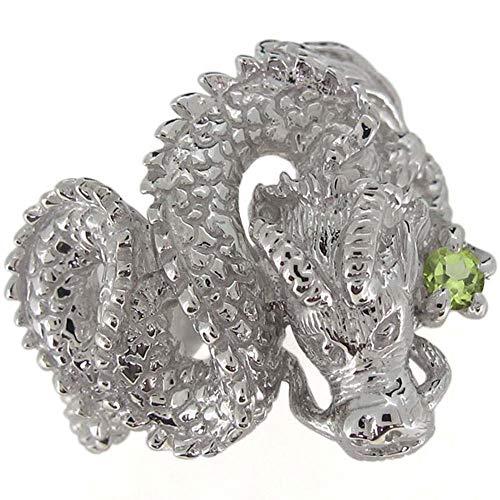 [プレジュール]ペリドット メンズリング 龍 ドラゴン 指輪 8月誕生石 ピンクゴールド K18 18K 18金リングサイズ17号