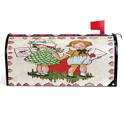 """Wamika Cute Kids Heart Love Mailbox Cover Vintage Valentine's Day Mailbox Covers Magnetic Mailbox Wraps Post Letter Box Cover Large Size 18"""" X 21"""""""