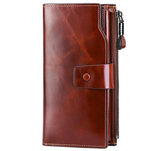 S-ZONE S-ZONE Damen groß Kapazität Luxus echtes Leder Geldbörsen mit Reißverschluss-Tasche