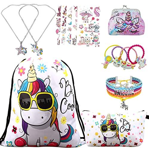 RLGPBON Pack 5 Unicornios Mochila con cordón/Maquillaje Bolsa/Collar de Cadena...
