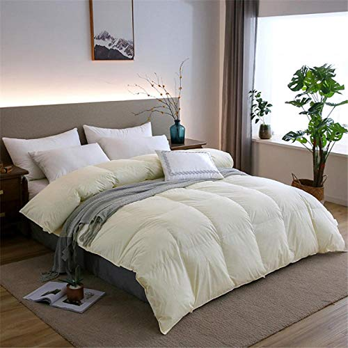 Hahaemall Duvets King Size Quilt White Goose Feather And Down Duvet -100% Cotton Anti Dust Mite & Down Proof Fabric - Anti Allergen - For All Season Use-Yellow_220x240cm-3Kg