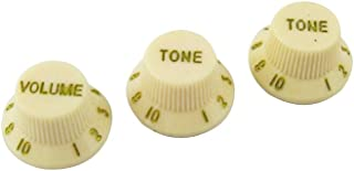 Musiclily Plastic 1 Volume and 2 Tone Control Strat Knobs Set for Fender ST Stratocaster Replacement Electric Guitar Parts,Cream