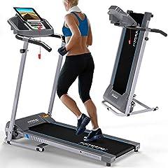 Kinetic Sports KST2700FX bieżnia składany elektryczny 500 watów cichy silnik elektryczny, 12 gramów, do 120 kg, GEH i trening biegowy, uchwyt na tablet, nieskończenie regulowany do 10 km /h
