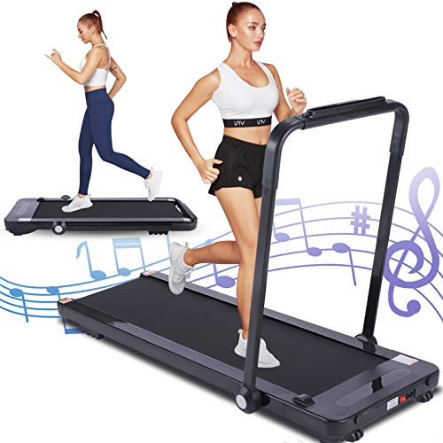 FUNMILY Under Desk Treadmill for Walking, 2 in 1 Folding Treadmill for Home, No Assembly, Compact Electric Treadmill for Small Space with Remote Control, LCD Display, Bluetooth Speaker