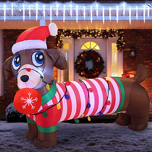 Joiedomi 6 FT Christmas Puppy Inflatable Decoration with Build-in LEDs Blow Up Inflatables