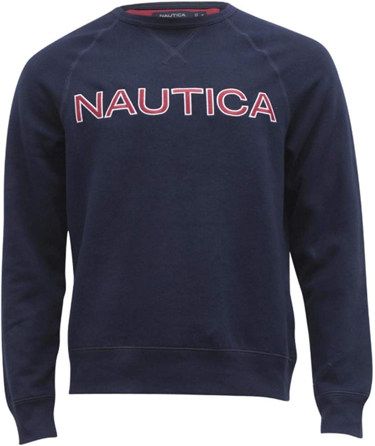 Nautica Men's Fleece キャンペーンもお見逃しなく 激安通販販売 Long Crew Neck Sweatshirt Sleeve