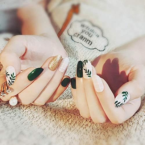 Ubright - 24 uñas postizas artificiales, uñas postizas largas, uñas postizas para mujeres y niñas (verde)