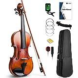 Vangoa 4/4 Geige Akustische Ebenholz Konfiguration Volle Größe Violine Einsteiger Set für Anfänger Erwachsene mit Anfänger Kits