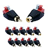 Germany DVS DVS-GERMANY.DE 10 Pieces RCA Cinch Socket and Plug Set Adapter Terminal Block Push-in Fittings (Plug Connections) 2-Pin terminals DC AV Block