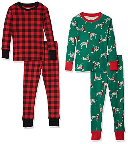 Amazon Essentials Boys' Snug-Fit Cotton Pajamas Sleepwear Sets, 4-Piece Christmas Dog/Buffalo Plaid Set, Small